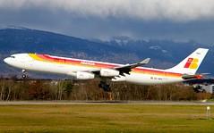 "Iberia "" Maria Guerrero"" EC-HGV. Airbus A340-313. IB3480. (Themarcogoon49) Tags: winter mountains switzerland airport aircraft landing airbus a340 iberia planespotting gva cointrin avgeek"