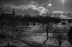 A St. Nazianz View (patrickkuhl) Tags: trees blackandwhite sun snow monochrome wisconsin clouds landscape blackwhite 28mm gr ricoh ricohgr wisco wisc stnazianz