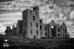 Slains (Szmytke) Tags: castle tourism monochrome landscape scotland media aberdeenshire bram sony inspired dracula uav stoker s900 drone a7r