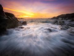 Fistral Glow (Timothy Gilbert) Tags: sunset beach rocks cornwall waves newquay panasonic fistral m43 gx7 microfourthirds olympus918mmf4056
