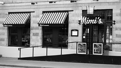 Mimi's Bakehouse (byronv2) Tags: door blackandwhite bw building window monochrome sign cake shop architecture awning restaurant baking blackwhite cafe ramp edinburgh diner mimis bakery leith edimbourg theshore stripedawning mimisbakehouse