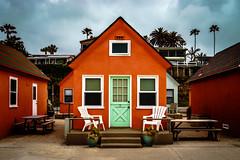 Orange House (a4taylor) Tags: ocean california orange house green beach home strand relax sand cottage shack