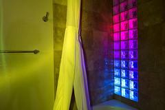 Bathroom (Curtis Gregory Perry) Tags: california color brick glass bathroom shower rainbow nikon curtain block sansimeon d800e