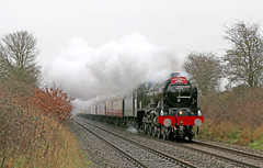 46100 Royal Scot out on the mainline (Andrew Edkins) Tags: trip travel trees winter england sky heritage wet rain speed train canon vintage geotagged photo power cheshire smoke january railway overcast loco steam photograph headboard locomotive passenger preserved railtour bushes 6100 fowler excursion steamtrain beestoncastle carriages lms 460 2016 britishrailways royalscot stanier uksteam footcrossing class57 46100 brgreen wcrc westcoastrailways mainlinesteam railwayphotography royalscotclass smokedeflectors crewelocoworks thenorthwalescoastexpress inauguraltour