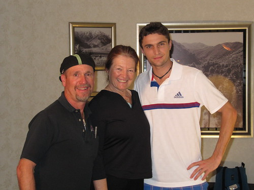 Gilles Simon - Mark Schulze and Patty Mooney with Gilles Simon, Adidas Pro Tennis Player, Palm Springs