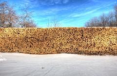 Firewood Fence (stasb) Tags: blue winter sky snow cold color contrast fence warm massachusetts firewood hdr petersham stasburdan