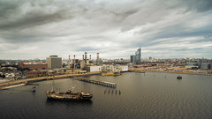 Storm is comming (Marcelo Campi) Tags: road street sky building cars water clouds harbor boat factory ship aerial urbanexploration montevideo antel dji aguadapark