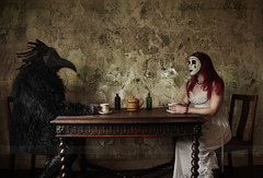 Tea with Mr Crow (Sshhhh...) Tags: old light house bird art kitchen canon vintage table photography interesting mask artistic tea feathers steam adventure crow corvid plague cupoftea nightdress sshhh mrcrow peely sshhhh canon550d