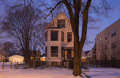 Dark (metroblossom) Tags: snow chicago building night illinois dusk study southside residential isolated 656 img0319c
