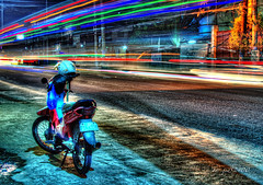 Scooter (jed52400) Tags: road street longexposure trafficlights nikon philippines helmet colorfullights rizal hdr sanmateo ambientlights