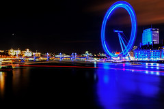 Glow Wheel on Thames. (sinister pictures) Tags: uk longexposure greatbritain england cold london millenniumwheel thames night reflections river unitedkingdom trails gb charingcrossbridge gbr 2013 sinisterpictures martynwheatley