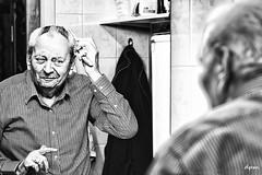 dressing up (noenkelMi) Tags: portrait blackandwhite bw man senior monochrome canon 50mm mirror blackwhite noiretblanc zwartwit spiegel grooming elderly portret noirblanc zw borstelen characterportrait rusthuis bejaarde canon70d