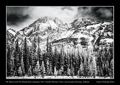 Mt. Blane and The Blade from highway 742 / Smith-Dorrien Trail, Kananaskis Country, Alberta (kgogrady) Tags: trees winter blackandwhite bw snow canada mountains clouds landscape blackwhite nikon afternoon noone peak ab nopeople alberta infrared nikkor dx smithdorrientrail kananaskiscountry canadianrockies 2016 westerncanada canadianmountains theblade d80 opalrange canadianlandscapes cans2s nikkor1870mmf3545gifed mtblane albertalandscapes highway742 canadianrockieslanscape