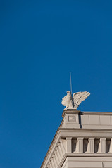 A griffin on its guard post (cinusek) Tags: blue roof sky building berlin statue stone architecture corner germany gray griffin gryphon