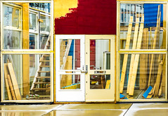 Composition in red, yellow and blue (Jorden Esser) Tags: door windows stairs facade construction paint eindhoven ddd planks atelier tdd strijps woodenframe nederlandvandaag thursdaydoorday mondriaanmood