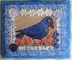Blue Bird Embroidery with hand sewn quilting and embellishments of lace, beads, ribbons and buttons Art for your Home (19) RustyfishKT (RustyFish101) Tags: sock sewing crochet jewellery kits etsy rustyfishkt