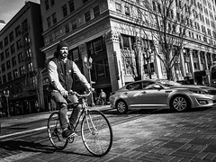 Perfect Day (TMimages PDX) Tags: road street city people urban blackandwhite monochrome bike bicycle buildings portland geotagged photography photo image streetphotography streetscene sidewalk photograph biking pedestrians pacificnorthwest bicyclist avenue vignette fineartphotography iphoneography