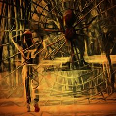 Entangled (Karen Kleis) Tags: photomanipulation spider web digitalart hypothetical entangled arteffects awardtree netartii