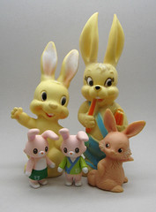 Vintage Bunnies (The Moog Image Dump) Tags: cute rabbit bunny bunnies vintage toy kawaii figure squeaker squeaky