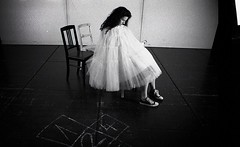 the play (R o t w a n g) Tags: portrait white black game film girl analog 35mm photography stage hell hopscotch tulle tutu
