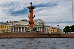 Old Saint Petersburg Stock Exchange and Rostral Columns (Svetlana Serdiukova) Tags: city trip summer river boat nikon europe russia stock sightseeing landmark column saintpetersburg nikkor motorboat exchange stockexchange excursion attractions d300 rostral   1755mmf28d     atteaction  svetlanaserdiukova