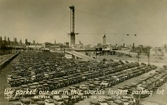 We Parked Our Car in This World's Largest Parking Lot, Columbus Drive, Chicago, Illinois (Alan Mays) Tags: ephemera postcards realphotopostcards rppc photos photographs foundphotos centuryofprogress internationalexposition worldsfairs chicagoworldsfair fairs international expositions progress autos automobiles cars parkinglots parking largest superlatives columbusdrive chicago il ill illinois 1934 1930s antique old vintage typefaces type typography fonts heibergwebsterphoto photographers