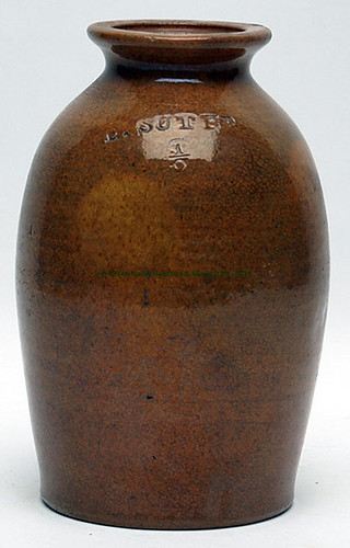 Stamped E. SUTER (Emanuel Suter) fine earthenware 1/2-gallon wax seal jar $1,925.00 - 4/11/14