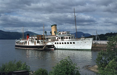 Maid of the Loch & Countess Fiona at Balloch. Jun'82. (David Christie 14) Tags: balloch lochlomond maidoftheloch countessfiona
