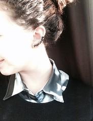 #style #blackandwhite #camicia #orecchini #today #outfit (laviniaconiglio) Tags: blackandwhite outfit style camicia today orecchini