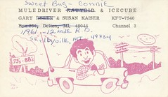 Mule Driver, Sweet Bug & Icecube - Shelbyville, Michigan (73sand88s by Cardboard America) Tags: car vintage michigan divorce qsl cb cbradio qslcard