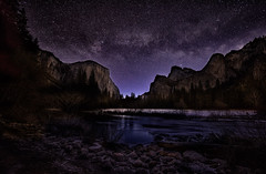 The Edge Of Dawn At The Gates (WJMcIntosh) Tags: night astrophotography yosemite yosemitenationalpark elcapitan bridalveilfalls valleyview mercedriver milkyway gatesofthevalley