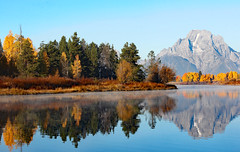 Early Morning Reflections At Oxbow Bend (Robert F. Carter Travels) Tags: autumn mountains fall river nationalpark rivers nationalparks mountainscape grandtetonnationalpark riverscape oxbowbend