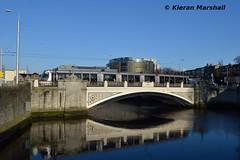 3008 crosses the Sen Heuston Bridge, 5/4/16 (hurricanemk1c) Tags: light dublin train rail railway trains lightrail redline alstom railways luas 3008 2016 citadis senheustonbridge type401