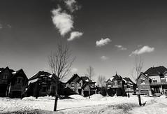 Winter in the suburbs (vinnie saxon) Tags: homes winter blackandwhite house snow monochrome clouds nikon tokina1224 suburbs neighbourhood nikoniste d5300