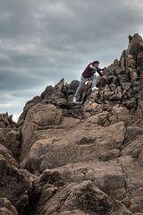 Guernsey: Cobo Bay Rock Climbing (David Claringbold) Tags: blue sky man fall clouds island climb high nikon raw unitedkingdom adventure climbing hoody d750 jumper grip tamron guernsey channel lightroom 2016 2470