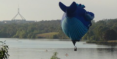 Skimming past Parliament House (spelio) Tags: water festival mar hotair balloon australia canberra act 2016 lakeburleygriffin
