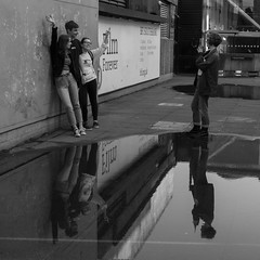 Say Cheese (scarlet-pimp) Tags: street england blackandwhite bw reflection london water monochrome cheese pose square puddle mono mirror posing southbank reflected timeout brutalism brutalist nationaltheatre londonist visitlondon brutalistarchitecture canon7d