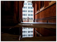 Puddle reflection... (kevingrieve610) Tags: trip reflection london water station st architecture fuji visit historic pancras xm1 xf27mm