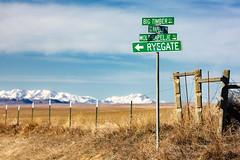 Rural Sign Post (www.toddklassy.com) Tags: blue sky usa mountains sign rural landscape montana unitedstates country sunny location signage directions intersection signpost copyspace roadside molt smalltown ryegate bigtimber rapelje