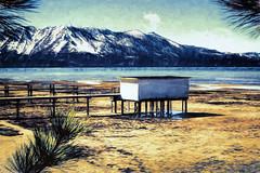 The Boathouse, Regan Beach, Lake Tahoe (Sierra Springs Photography) Tags: california snow laketahoe boathouse topaz southlaketahoe nikfilters sierraspringsphotography karenschmautz reaganbeach topazimpression topaztextureeffects