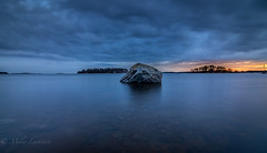 Shades of Blue (Mika Laitinen) Tags: ocean longexposure blue sunset sea sky cloud seascape nature water rock suomi finland landscape twilight helsinki quiet dusk wideangle calm balticsea shore serene fi scandinavia nightfall vuosaari uusimaa kallvik tokina1116mm canon7dmarkii
