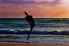 my oldest daughter exercising on the beach - Tel-Aviv (Lior. L) Tags: sunset sea love beach sport israel telaviv seascapes exercising myoldestdaughterexercisingonthebeachtelaviv exercisingonthebeach