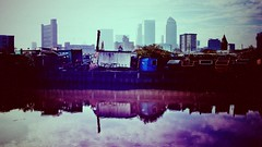 The River Lea (firstnameunknown) Tags: city london water skyline reflections river cityscape lea canarywharf camerabag eastlondon balfrontower camerabag2