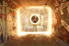 Embrasement sous le Boulevard des Belges -- Blaze under the Boulevard des Belges (simon.rohou) Tags: light lightpainting painting steel tunnel fer paille whool