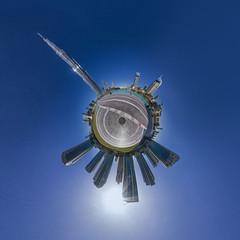 Downtown Dubai @ 360 (jeglikerikkefisk) Tags: panorama sun downtown dubai pano uae bluesky sonne blauerhimmel 360 sphericalpanorama vae kugelpanorama littleplanet downtowndubai sphrischespanorama