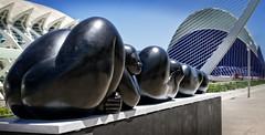Jimnez Deredia.  Genesis egg (Tiigra) Tags: travel sculpture valencia statue architecture nude spain es lattice valncia 2015 comunidadvalenciana