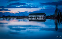 After Sunset( Happy Weekend) (T.ye) Tags: blue sunset cloud house reflection tree landscape mirror quiet todd  tone  ye
