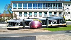 Combino in der Rautestrae (III) (M. Schirmer Berlin) Tags: energie tram nordhausen harz stadtwerke bambino combino wiederaufbau schmalspur evn 50erjahre strasenbahn meterspur totalwerbung stadtterrasse rautestrase