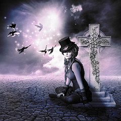 Requiescat in pace ... (jinterwas) Tags: photoshop manipulated purple dove photoshopped tombstone prince doves steampunk paars duiven duif grafzerk
