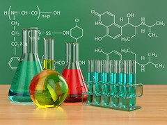 Chemical flasks and blackboard with formulas. (arden_mariee) Tags: test color water glass closeup painting creativity 3d education flask technology image drawing tube working experiment science ukraine equipment medical research chemistry laboratory sample formula medicine ideas biology liquid exam mathematical development blackboard pharmacist beaker biotechnology chemical reagents vial chemist scientific glassware expertise analyzing